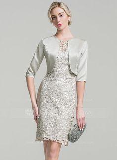 Etui-Linie U-Ausschnitt Knielang Spitze Kleid für die Brautmutter  (008091938) 73f7019c5a