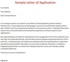 Job Application Letter Example October Following  Writting A Cover Letter