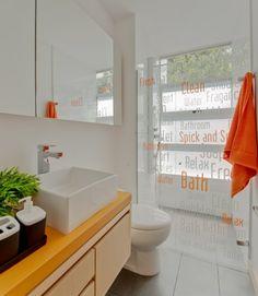 Orange white bathroom