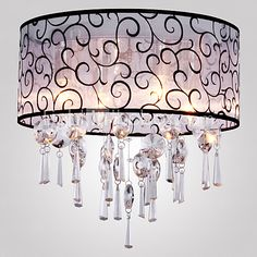 40 Flush Mount ,  Modern/Contemporary Drum Electroplated Feature for Crystal Metal Living Room Bedroom - USD $88.19