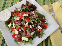 Greek Salad with homemade Tzatziki Sauce. So Refreshing on a hot summer day!