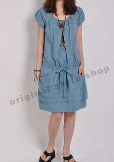 Hey, I found this really awesome Etsy listing at https://www.etsy.com/listing/183669123/blue-linen-dress-tunic-dress-cotton