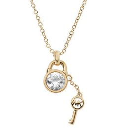 4133aff0918fe I m drooling. Michael Kors Padlock with Key Charm Necklace