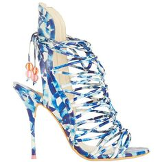 Sophia Webster Lacey Oceana Beaded Beachball Lace Up Sandal ($419) ❤ liked on Polyvore featuring shoes, sandals, blue, beaded sandals, strappy high heel sandals, cut out sandals, blue high heel shoes and blue strappy sandals