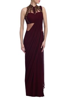Buy Wine & gold embellished saree gown by Gaurav Gupta at Aza Fashions Wine & gold embellished sari gown by Gaurav Gupta - Shop at Aza Saree Gown, Sari Dress, Trendy Sarees, Stylish Sarees, Saree Draping Styles, Saree Styles, Indian Designer Outfits, Designer Dresses, Designer Sarees