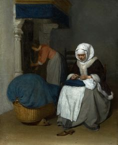 Woman sewing beside a Cradle, by Gerard ter Borch © Gandalf's Gallery - CC…