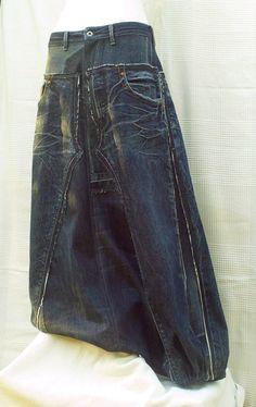 Dark blue Sarouel en patchwork de jeans recyclés par DLFine