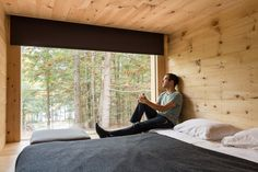 We spy spring Photo by Modern Tiny House, Tiny House Living, Tiny House Design, Weekender, Capsule Hotel, Bungalow, Casas Containers, Sleeping Porch, New Bedroom Design