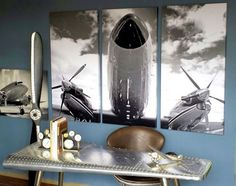 A Simpler Time features the web's best selection of aviation decor and gifts including personalized aviation signs and flying-themed metal signs, wood airplane propellers and our own line of wood propeller furniture items. Aviation Furniture, Aviation Theme, Masculine Interior, E Room, Metal Birds, Triptych, Room Themes, Decor Ideas, Craft Ideas