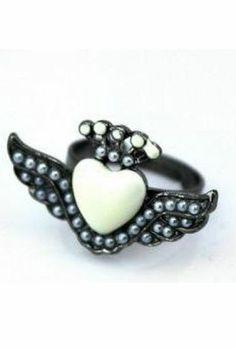 Black Bead Heart Wing Ring