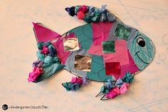 """This rainbow fish craft is the perfect companion to the beloved book """"The Rainbow Fish."""" It is so bright and colorful - kids love it! Rainbow Fish Bulletin Board, Fish Bulletin Boards, Rainbow Fish Crafts, Beloved Book, Connection, Kindergarten, Projects To Try, Preschool, Gift Wrapping"""