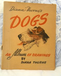 """1944 Vintage Diana Thorne's """"Dogs Book Album Drawings"""" 23 Illustrations Large HC"""