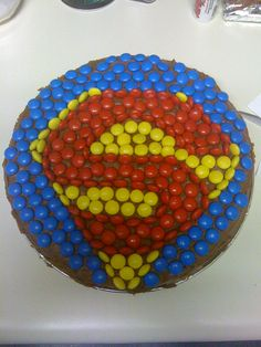 Easy superman cake - M&M's used to decorate it