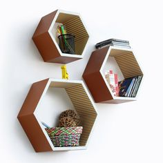 Honeycomb wall shelves