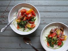 Summer Polenta with Chimichurri and Tomatoes Recipe | SAVEUR