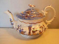 Antique-c-1820-BLUE-WHITE-tranfer-print-TEAPOT-oriental-musicians-chinoiserie
