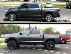 Toyota Tundra with a Zone Suspension Lift, American Eagle Hard Rock Series 014 Wheels, Atturo Trail Blade M/T Tires, N-Fab Nerf Bars, and a Truxedo Lo-Pro Tonneau Cover. Custom Wheels And Tires, Tundra Truck, Jeep Suv, Tonneau Cover, Lift Kits, Toyota Tundra, Hard Rock, Nerf, Blade