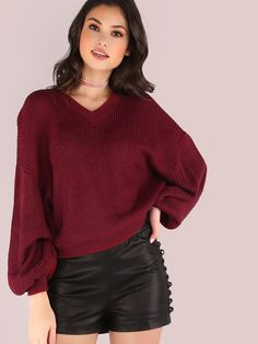 "Look casuaully cool in this effortless wear. Featuring a v-neckline, cropped body, knit material and lantern like sleeves for added cuteness. Sweater measures 20"" in. from top to bottom hem. Throw on medium wash ankle skinnies and a dainty necklace. #knit #autumn #MakeMeChic #style #fashion #newarrivals #fall16"