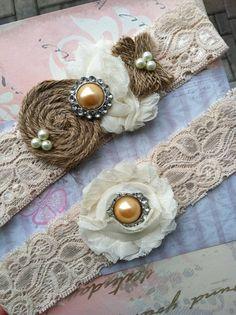 Garter/ BURLAP wedding garter / bridal  garter/  lace garter / tea stained  /  barn rustic wedding garter / vintage inspired lace garter on Etsy, $30.99