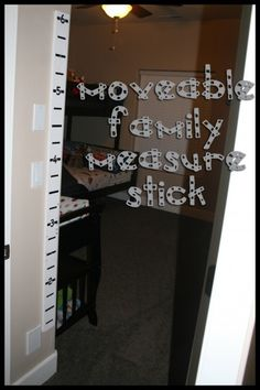 Moveable Family Measure Stick - don't lose your kids height markings if you move!  Vector file available for download, so you can cut your own vinyl, to make your own moveable measure stick!