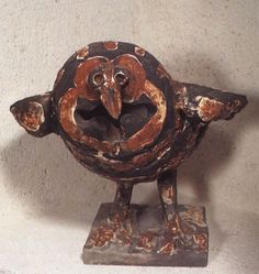 Angry Owl, 1950, Vallauris. Cast white clay, decorated with red slip under glaze; black-slip patina applied after firing, 11-1/4 x 11-3/4 x 12-5/8 in. (28.5 x 30 x 32).True to himself, Picasso abolished limits, working both as a ceramist and a sculptor when he modeled his own pieces, as a painter and a sculptor through his experiments with glazes. Sometimes he used traditional wares as his support; and sometimes he worked with mass-produced objects or discards; and sometimes he sculpted his…