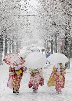 Women in kimonos walk during heavy snowfall at Toshimaen amusement park in Tokyo to celebrate Coming of Age Day on Jan 14. Coming-of-age ceremonies honor young people across Japan when they reach the age of 20. (© Yuya Shino/Reuters)