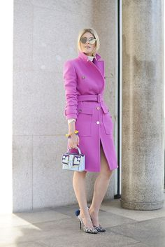 Brights in #StreetStyle : Sophie Valkiers in a fuchsia Pucci coat | MFW Fall/Winter 2015-2016