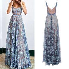 Vestido largo adina fiesta v-cuello de encaje flores elegante azul
