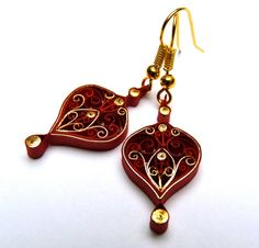 Earrings  Ecofriendly quilled paper Christmas by VBPureDesigns, $15.85