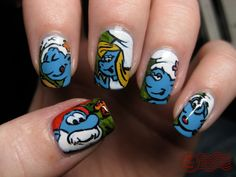 smurfs! wow that would take 4eve!! but cute, i would never do them ~take to long~ but still cute