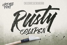 Rusty ColaPen type is hand painted typeface designed to help you create the look of stunning custom hand-lettering.