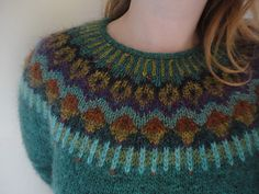 Beautiful colours on this yoke jumper: Lovewool-Knits' Gemini Pullover Lagoon Heather (MC) Knitting Projects, Knitting Patterns, Icelandic Sweaters, Fair Isle Pattern, Fair Isle Knitting, Sweater Making, Knit Stranded, Fair Isles, Pulls