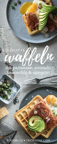 tricky breakfast love: herzhafte parmesanwaffeln mit baconchip, avocado und spiegelei ♥ Parmesan, Rustic Food Photography, Avocado Recipes, Chia Pudding, Fabulous Foods, International Recipes, Food Styling, Waffles, Food Porn