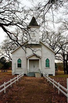 White Church with Green Windows