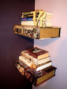 Book shelves made from decorative vintage books