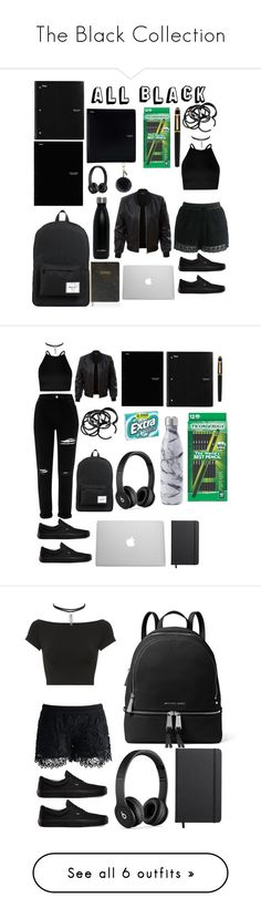 """""""The Black Collection"""" by tarilove ❤ liked on Polyvore featuring Herschel Supply Co., ACCO, Five Star, Beats by Dr. Dre, Boohoo, Chicwish, LE3NO, Vans, Cartier and H&M"""
