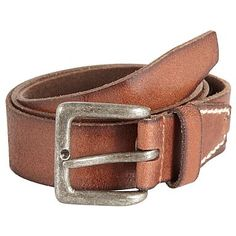 Brown top stitched tab detail leather belt -