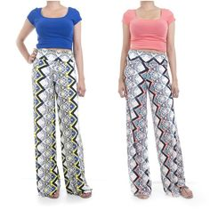ebclo - Colorful Printed Wide Leg Pants Banded Waist Maxi Trouser NEW #ebclo #CasualPants $19.00 Free Domestic Shipping