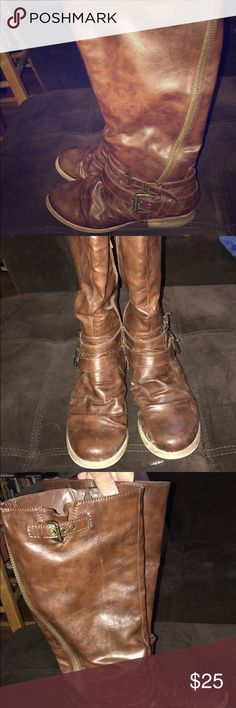Brown riding boots Excellent condition, bought them off here and wore once. Too big. Carlos Santana Shoes Combat & Moto Boots