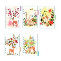 2018 Cute Sing Deer A5 A6 Spiral Notebook Loose Leaf Transparent PP Separator Pages Deer 5 sheets Separate for filofax Kikkik