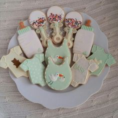 Gender neutral baby shower cookies they matched the cake (that I didn't make)