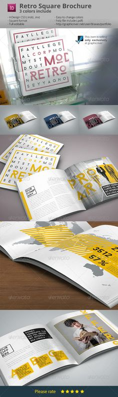 Retro Style Square Brochure Indesign