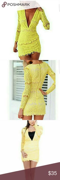 Lace sexy dress Women's Sexy/Bodycon Stretchy Long Sleeve Above Knee Dress (Lace) boutique  Dresses Mini