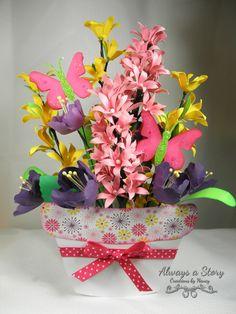paper flower arrangement using files from Scraptastical Kreations.