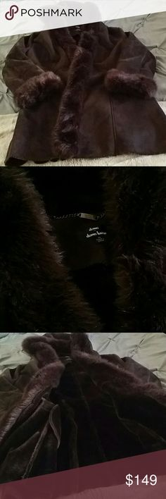 Dennis Basso Faux Fur Coat Chocolate brown faux fur  Size 1x  So luxurious I paid $395 retail for this. I wore it a few times but very gently. She's in gorgeous condition and will come dry cleaned and in the Dennis basso coat cover Reasonable offers will be considered Dennis basso Jackets & Coats Pea Coats