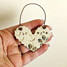 Sweet Porcelain Heart Ornament by StudioByTheForest on Etsy, $8.00