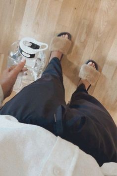 amazon slippers and motivational water bottle with time markers #loungewear #amazonfinds #amazonstyle