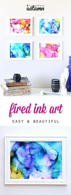 This fired ink art is so cool! Its easy enough for kids to do and turns out beautiful! Great summer craft activity to do with your kids. DIY home decor or wall art.