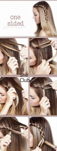 How to make beautiful one sided braid hair style step by step DIY tutorial picture instructions