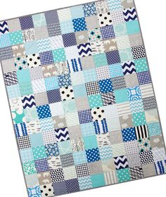 Custom Order ~ Baby Boy Quilt44 inches x 56 inches.Fresh, modern with graphic and simple prints. ...